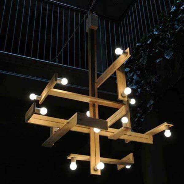 reclaimed pallet chandelier