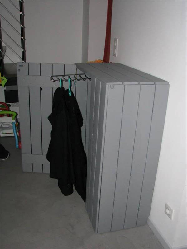 recycled pallet coat cabinet