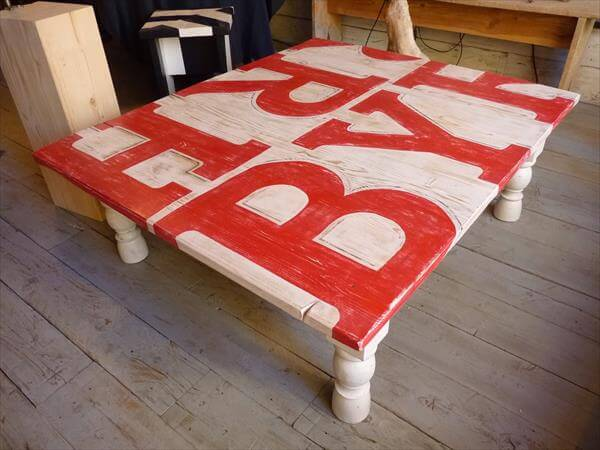 Diy painted pallet coffee table 99 pallets for Painted pallet coffee table