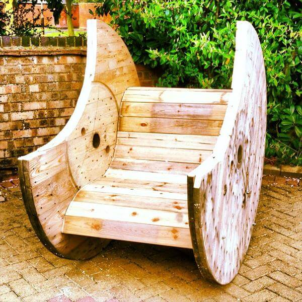 diy pallet and cable reel garden bench