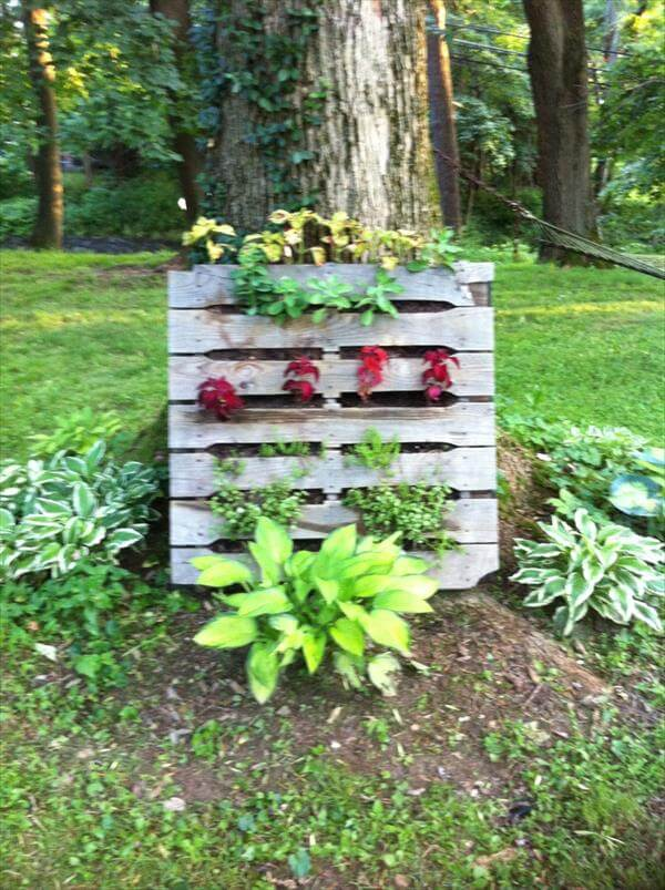 Diy pallet gardens 20 creative ways to use pallets 99 for How to make a vertical garden using pallets