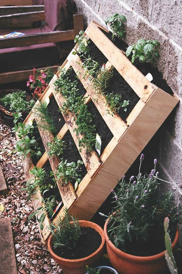diy pallet gardens 20 creative ways to use pallets 99 pallets. Black Bedroom Furniture Sets. Home Design Ideas