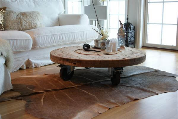 reclaimed cable drum coffee table
