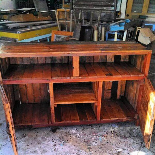 Pallet TV Console Table with Storage cabinets