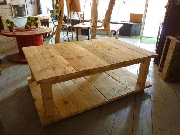 How to make your own wood coffee table 99 pallets - How to make table out of wood pallets ...