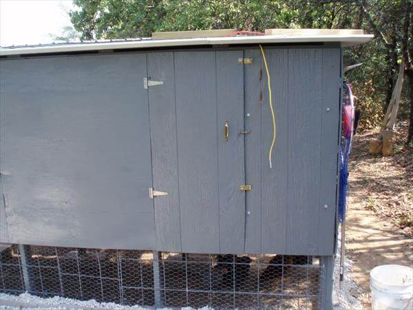 pallet chicken coop access door