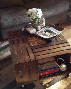recycled apple crate coffee table