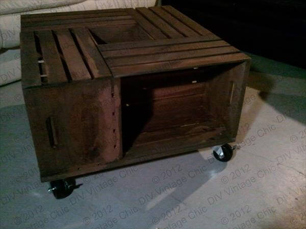 Diy crate coffee table 99 pallets for Coffee table from wooden crates