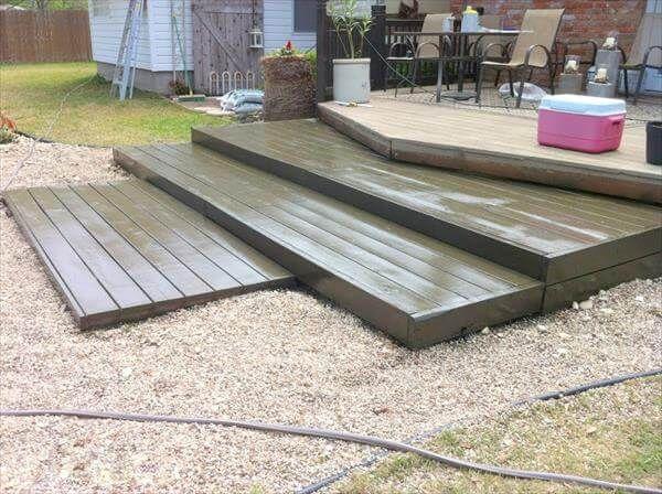 reclaimed pallet wood deck stairs