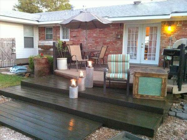 recycled pallet home deck addition
