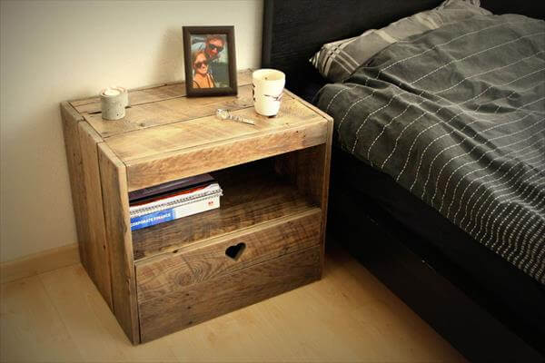 Diy pallet nightstand 99 pallets - Table de nuit palette ...