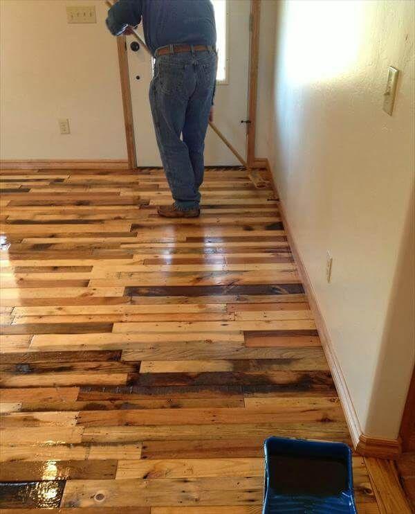 adding spirit solution of pallet flooring