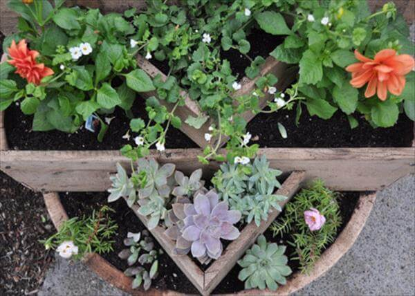 pallet and barrel planter idea
