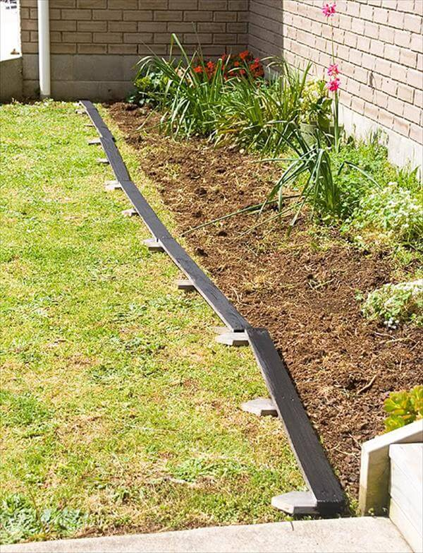 recycled pallet bed edging