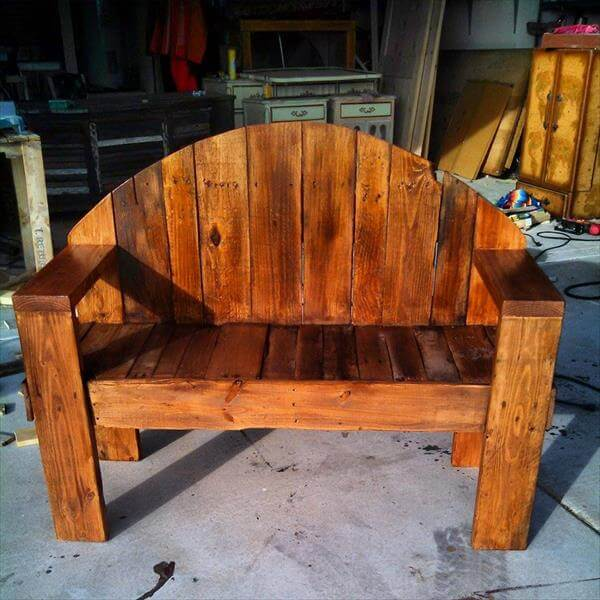 recycled pallet rustic bench