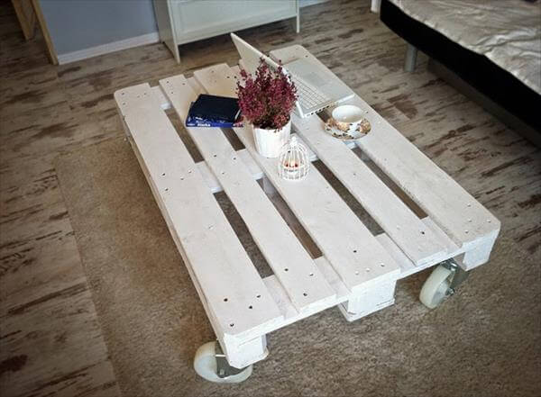 White Pallet Coffee Table white pallet coffee table with wheels | 99 pallets