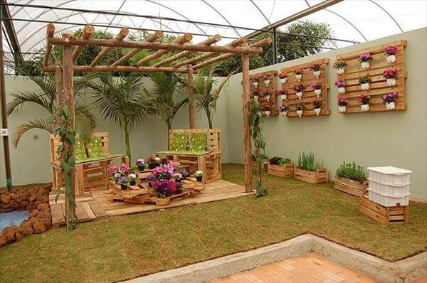 recycled pallet garden decors