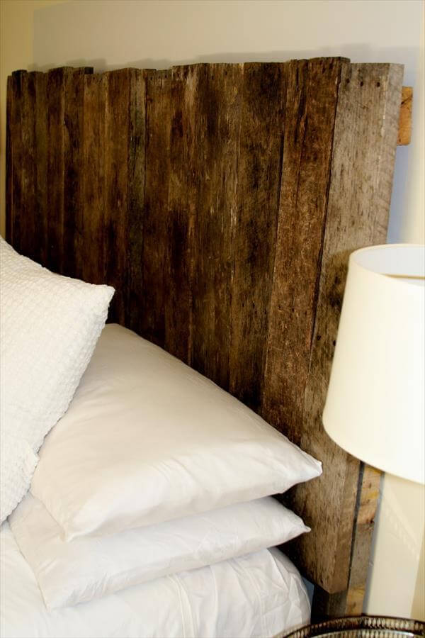 Rustic pallet headboard tutorial 99 pallets for How to make a wood pallet headboard