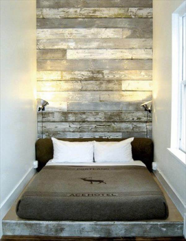 recycled rustic pallet headboard