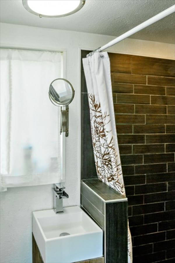 recycled pallet house bathroom wall