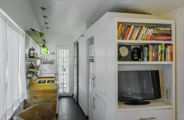 restored pallet shed kitchen and hallway