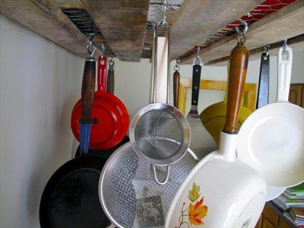 Diy Wooden Pallet Hanging Pot Rack 99 Pallets