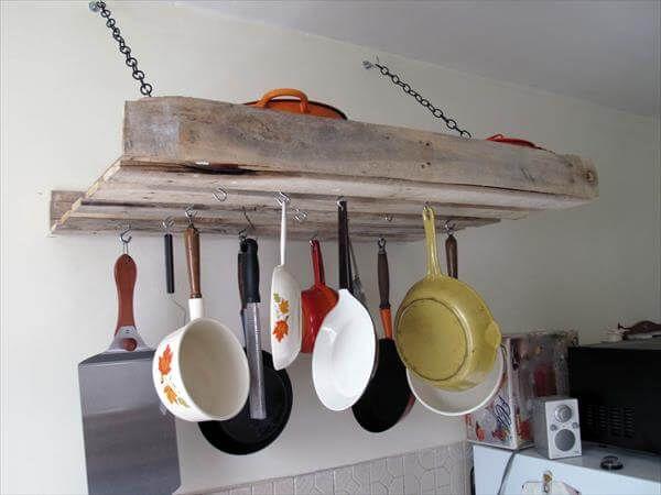 upcycled pallet kitchen pot rack