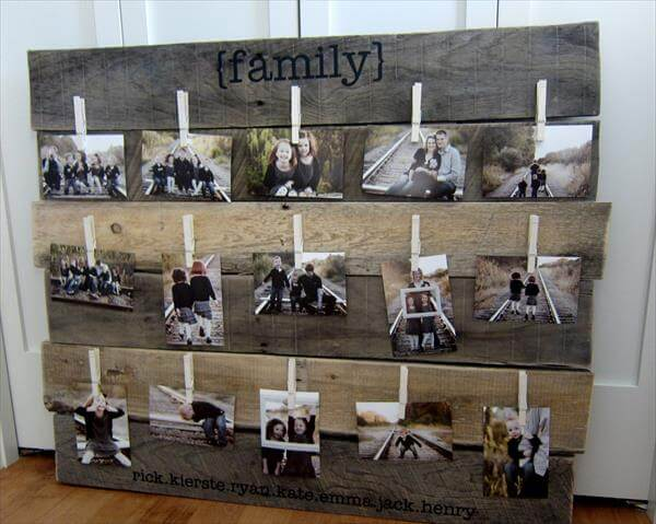 repurposed pallet picture display