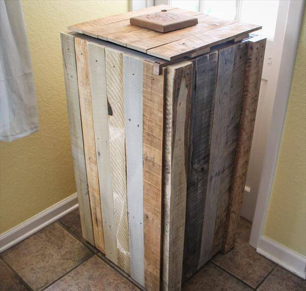Recycle Pallet: DIY Pallet Recycle Bin Makeover