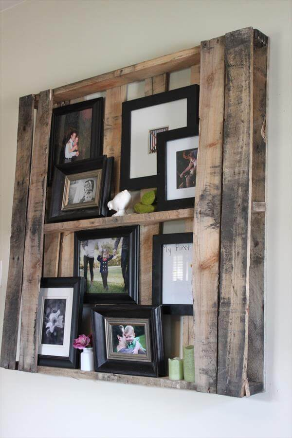 diy pallet wall shelves picture frame display rack. Black Bedroom Furniture Sets. Home Design Ideas