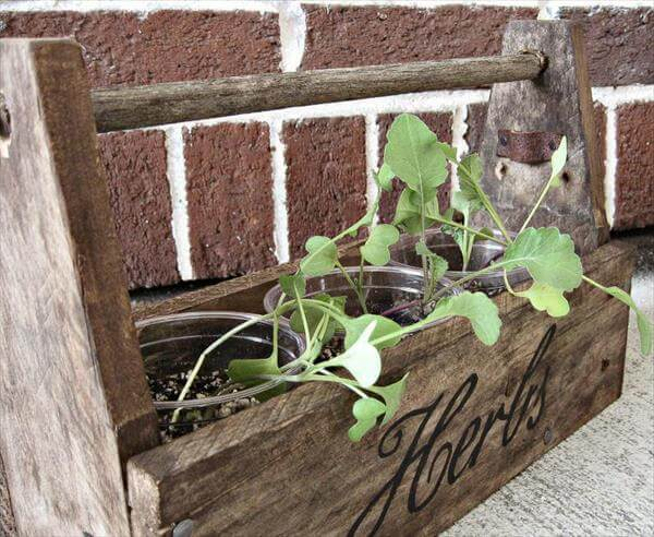 upcycled pallet garden tool box