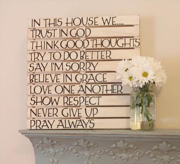 Wall Art With Pallets: DIY Good Sayings: Pallet Wall Art