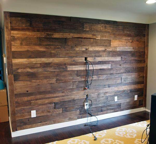 upcycled pallet living room wall