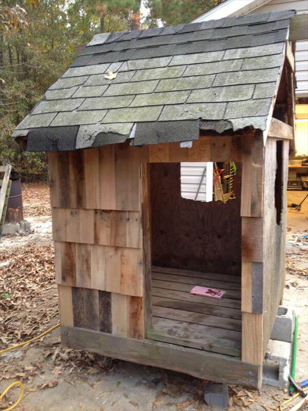 pallet wood addition to the playhouse
