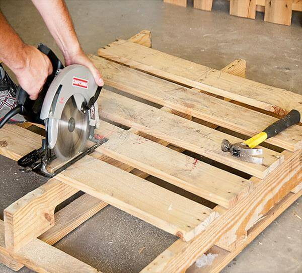 cutting of pallet into half