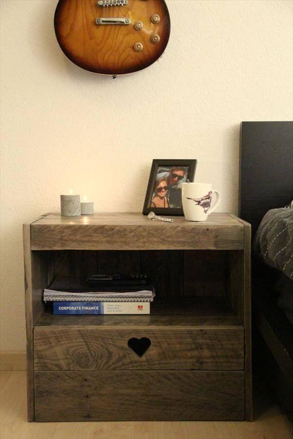 Diy pallet nightstand - Table de nuit en palette ...
