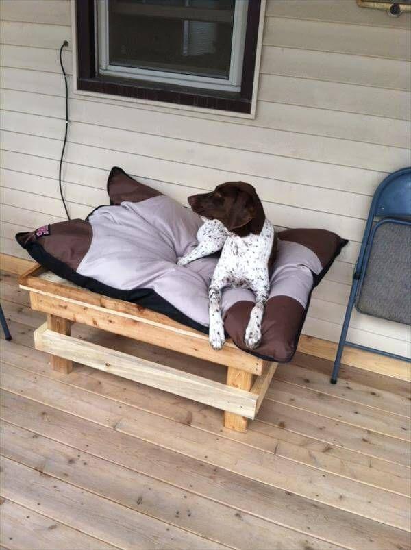 diy handcrafted pallet dog bed
