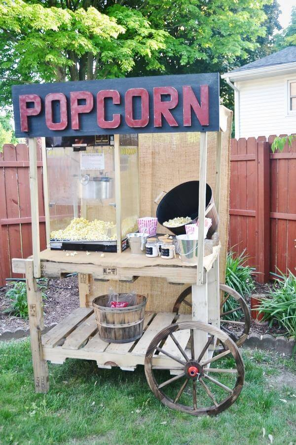 recycled pallet popcorn stand