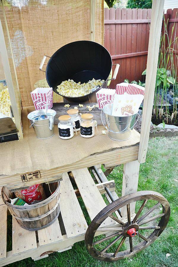 upcycled pallet popcorn stand