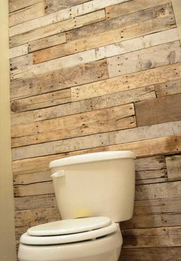 Diy tutorial pallet bathroom wall 99 pallets - Wooden pallet accent wall ...