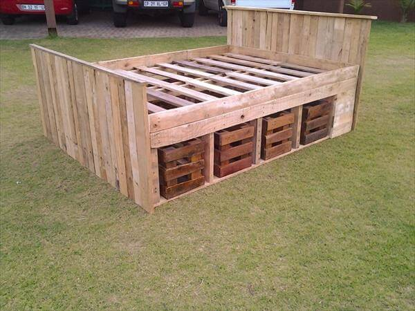 How To Make Pallet Bed Frame Cheap Recycling Pallet Idea Bedside Lamps ...