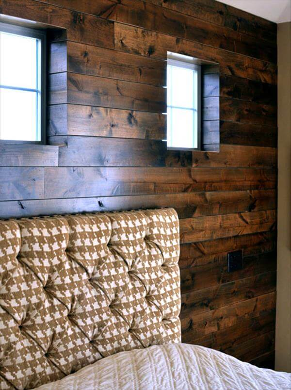 Diy bedroom wall made of pallets 99 pallets - Wooden pallet accent wall ...