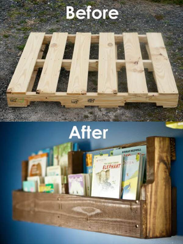 rustic pallet to bookshelf tutorial