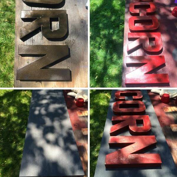 DIY pallet cardboard popcorn name plate