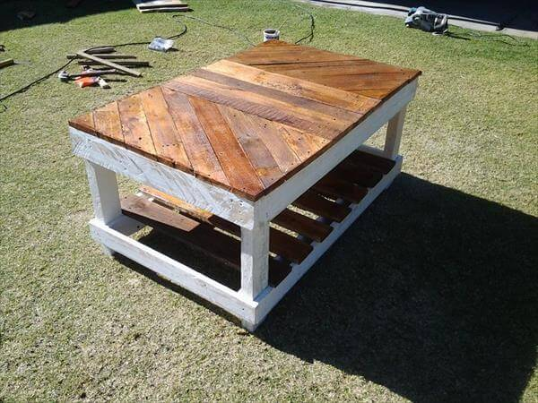 Diy coffee table out of pallet wood 99 pallets for How to build a coffee table out of pallets