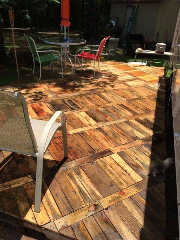 Diy pallet deck ideas and instructions 99 pallets for Diy wood flooring ideas