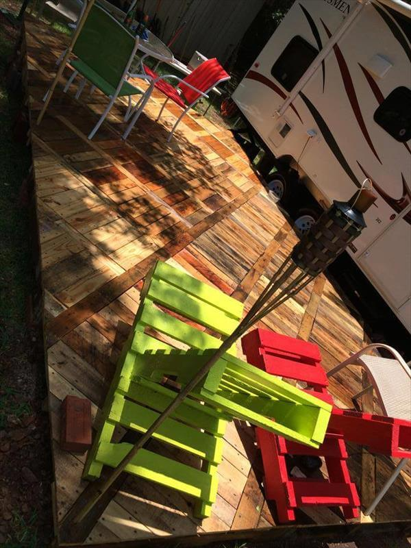 upcycled pallet deck flooring