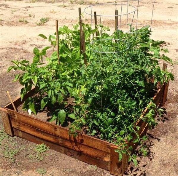 handcrafted pallet garden bed