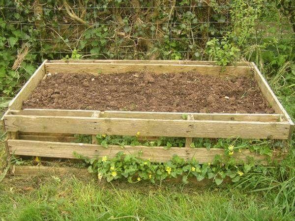 pallet wood garden bed diy