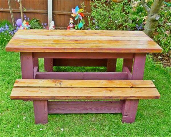 recycled pallet garden bench and table